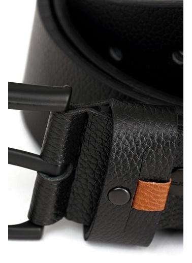Deri Company Erkek Basic Kot Kemer Kahverengi Parçalı Siyah 112030 Siyah